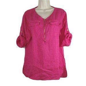 Ellen Tracy 1/4 Zip Linen Top Women Size M Pink